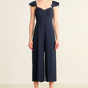 Eliza J sleeveless cropped navy blue jumpsuit